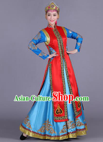 Chinese Traditional Mongol Nationality Costume Mongolian Folk Dance Ethnic Red Dress for Women