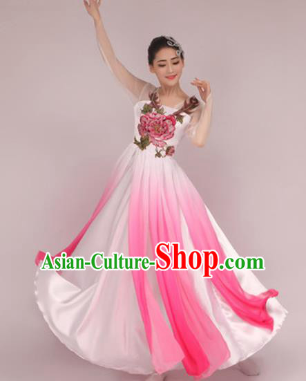 Chinese Classical Dance Costume Traditional Folk Dance Umbrella Dance Dress for Women