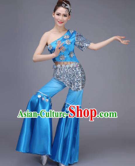 Chinese Classical Dance Costume Traditional Folk Dance Yangko Blue Clothing for Women