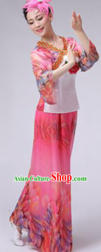 Chinese Classical Dance Fan Dance Costume Traditional Folk Dance Yangko Pink Clothing for Women