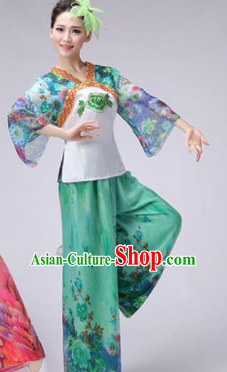 Chinese Classical Dance Fan Dance Costume Traditional Folk Dance Yangko Green Clothing for Women