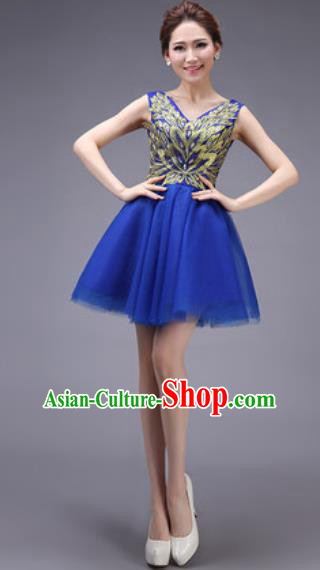Professional Modern Dance Royalblue Bubble Dress Opening Dance Stage Performance Bridesmaid Costume for Women