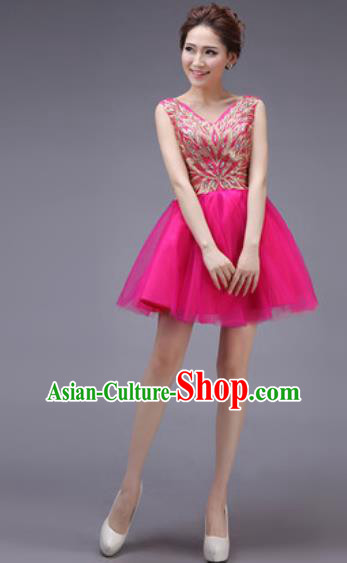 Professional Modern Dance Rosy Bubble Dress Opening Dance Stage Performance Bridesmaid Costume for Women