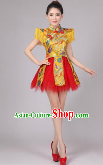 Chinese Classical Dance Drum Dance Costume Traditional Folk Dance Yangko Yellow Dress for Women