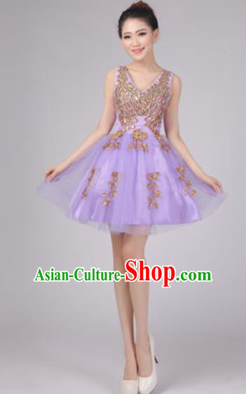 Professional Modern Dance Lilac Bubble Dress Opening Dance Stage Performance Costume for Women