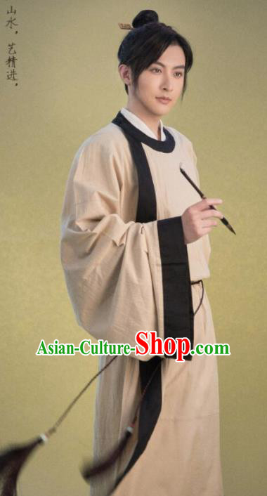 Chinese Traditional Song Dynasty Gentleman Costumes Ancient Scholar Robe for Men