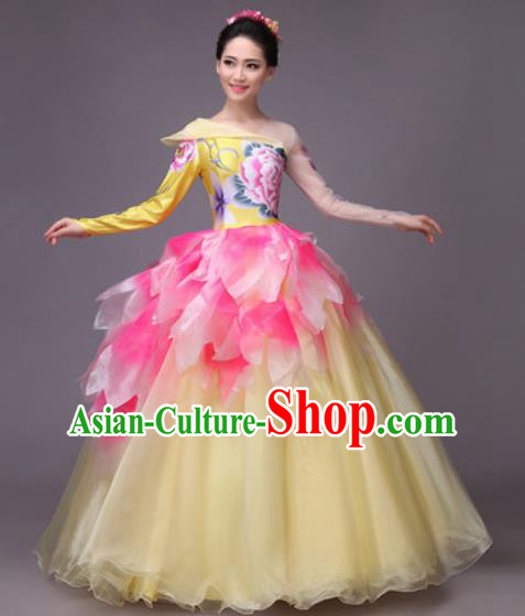 Chinese Classical Dance Costume Traditional Folk Dance Peony Flower Dress for Women