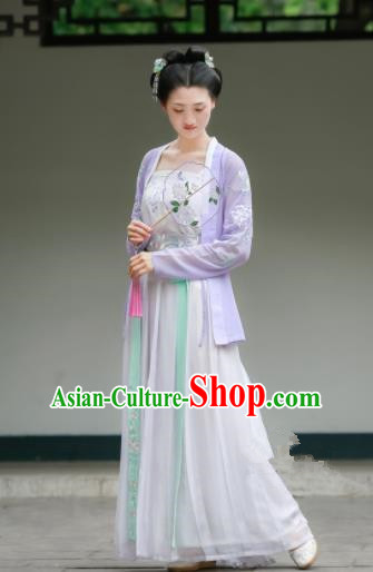 Chinese Traditional Song Dynasty Purple Costumes Ancient Maidenform Hanfu Dress for Women