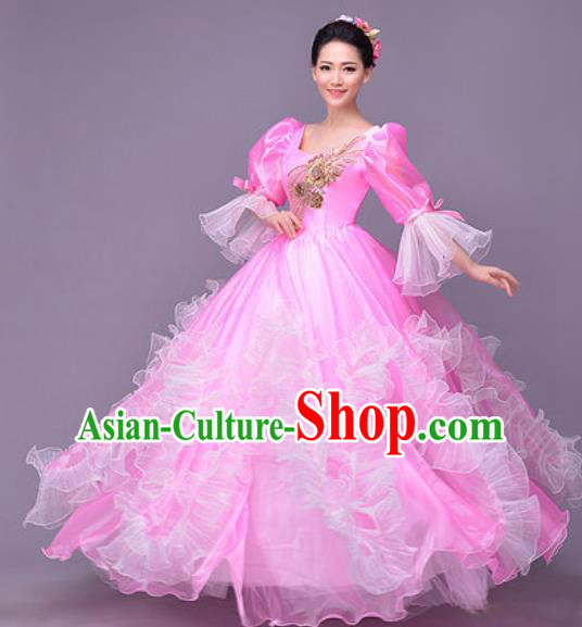 Professional Modern Dance Compere Pink Dress Opening Dance Stage Performance Costume for Women