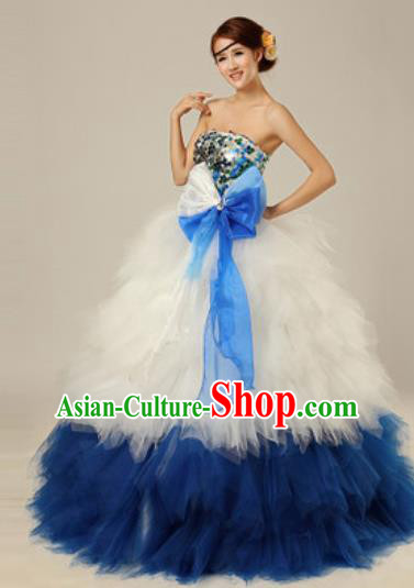 Top Grade Modern Dance Compere Costume Ballroom Waltz Stage Performance Chorus Dress for Women