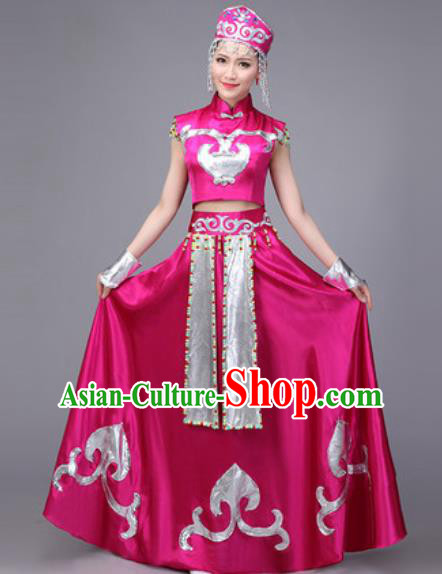 Chinese Traditional Mongol Nationality Dance Costume Mongolian Folk Dance Ethnic Rosy Dress for Women