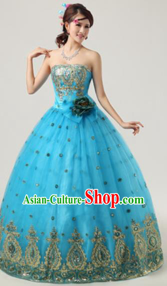 Top Grade Compere Costume Waltz Dance Modern Dance Stage Performance Blue Dress for Women