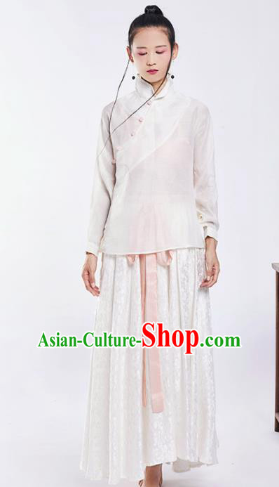 Chinese National Costume Traditional Silk Tang Suit Blouse and Skirt for Women
