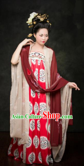 Traditional Chinese Tang Dynasty Replica Costumes Ancient Palace Lady Maidenform Hanfu Dress for Women