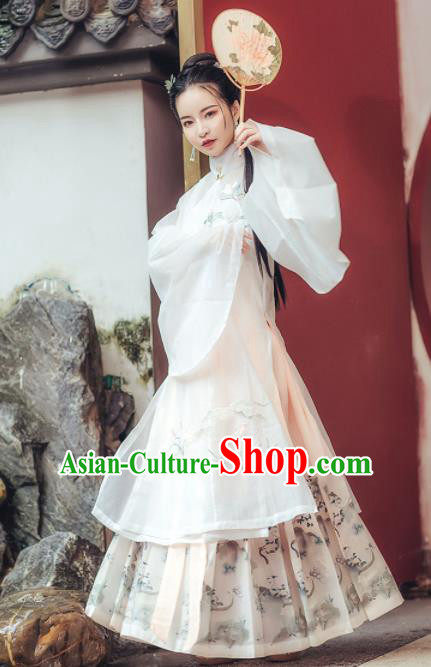 Chinese Ancient Embroidered Costumes Traditional Ming Dynasty Princess White Hanfu Dress for Women