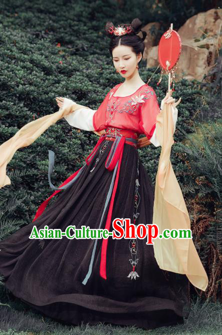 Chinese Ancient Fairy Embroidered Costumes Traditional Tang Dynasty Princess Red Hanfu Dress for Women