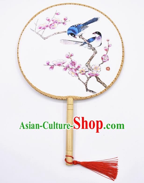 Chinese Ancient Palace Fans Handmade Ink Painting Peach Blossom Round Fans for Women