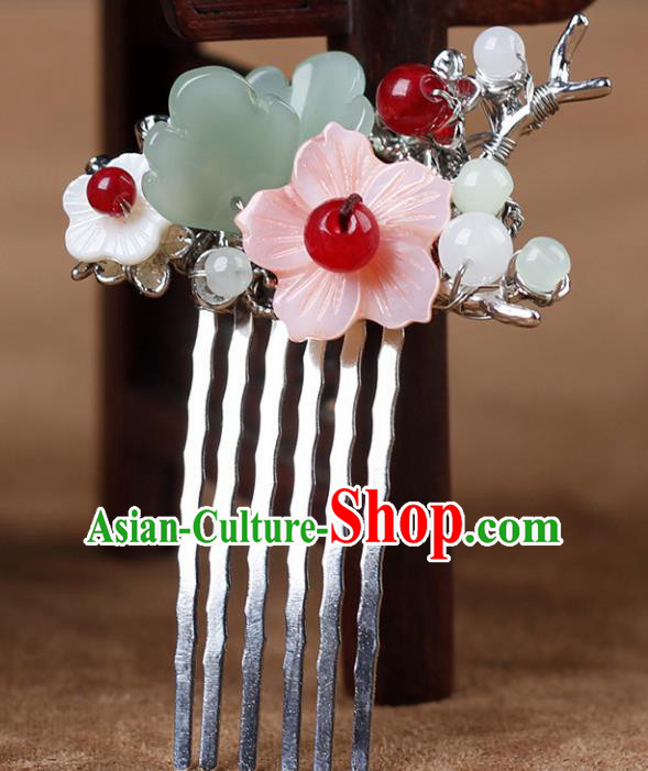 Chinese Ancient Hanfu Hair Accessories Traditional Flowers Hair Comb Hairpins for Women