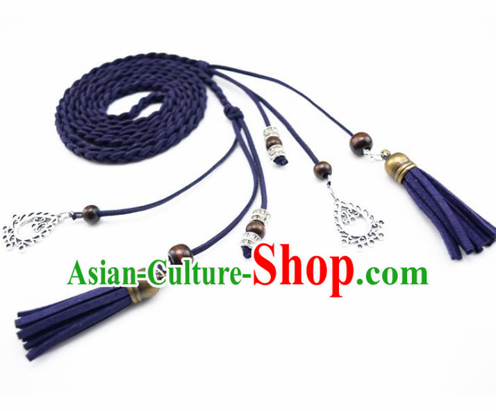 Chinese Ancient Hanfu Hair Accessories Traditional Swordswoman Royalblue Hair Band  for Women