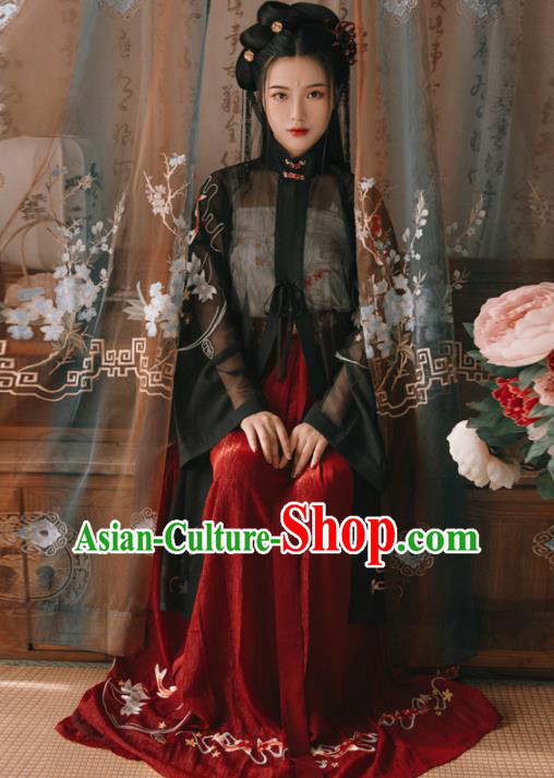 Chinese Ancient Young Lady Embroidered Costumes Ming Dynasty Hanfu Dress for Women