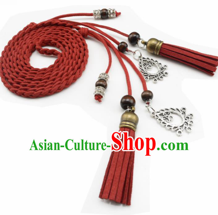 Chinese Ancient Hanfu Hair Accessories Traditional Swordswoman Red Hair Band  for Women
