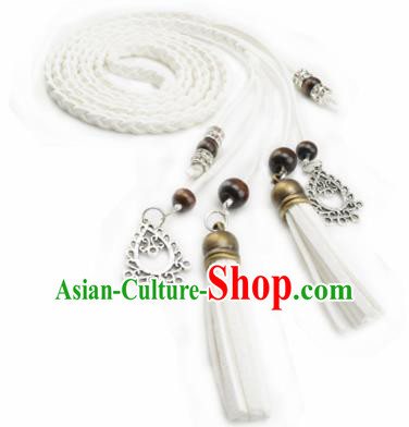 Chinese Ancient Hanfu Hair Accessories Traditional Swordswoman White Hair Band  for Women