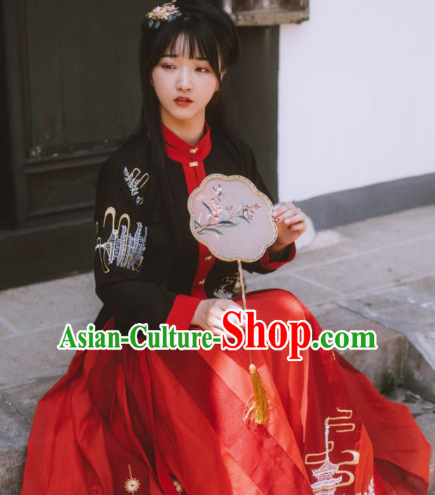 Chinese Ancient Maidenform Costumes Ming Dynasty Princess Embroidered Blouse and Skirt for Women