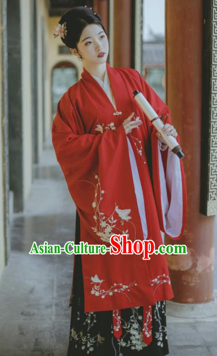 Chinese Ancient Ming Dynasty Countess Costumes Embroidered Hanfu Dress for Women