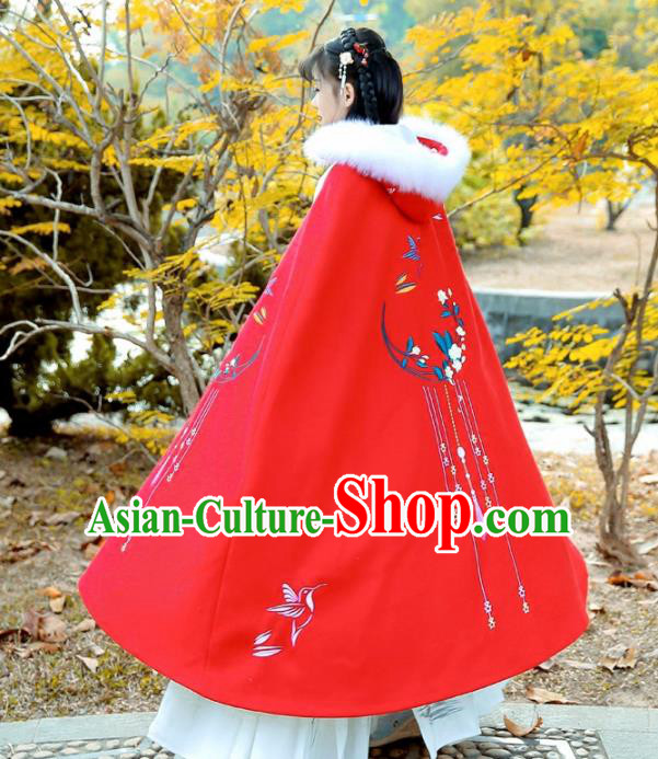 Chinese Ancient Ming Dynasty Swordswoman Costumes Embroidered Red Wool Cloak for Women