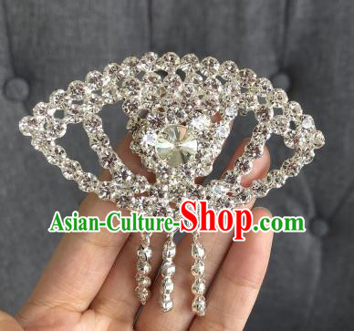 Chinese Traditional Peking Opera Diva Crystal Fanshaped Brooch Jewelry Accessories Ancient Princess Breastpin for Women