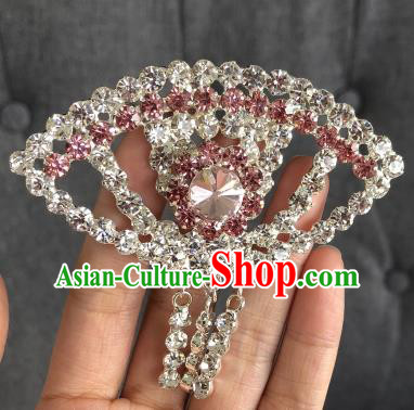 Chinese Traditional Peking Opera Diva Pink Crystal Fanshaped Brooch Jewelry Accessories Ancient Princess Breastpin for Women