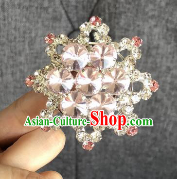 Chinese Traditional Peking Opera Diva Pink Crystal Eight Pointed Star Brooch Jewelry Accessories Ancient Princess Breastpin for Women