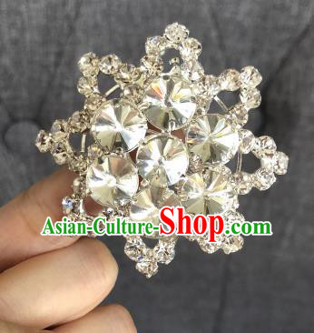 Chinese Traditional Peking Opera Diva Crystal Eight Pointed Star Brooch Jewelry Accessories Ancient Princess Breastpin for Women