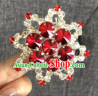 Chinese Traditional Peking Opera Diva Red Crystal Eight Pointed Star Brooch Jewelry Accessories Ancient Princess Breastpin for Women