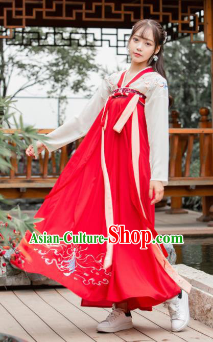 Chinese Ancient Tang Dynasty Princess Embroidered Costumes for Women