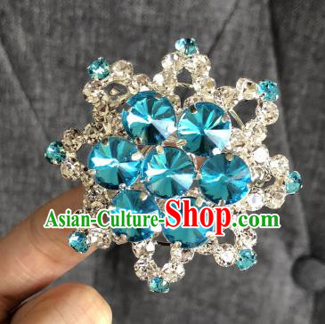 Chinese Traditional Peking Opera Diva Blue Crystal Eight Pointed Star Brooch Jewelry Accessories Ancient Princess Breastpin for Women