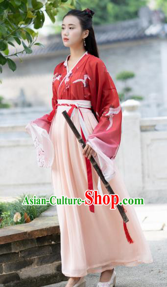 Chinese Ancient Jin Dynasty Swordswoman Embroidered Red Costumes for Women