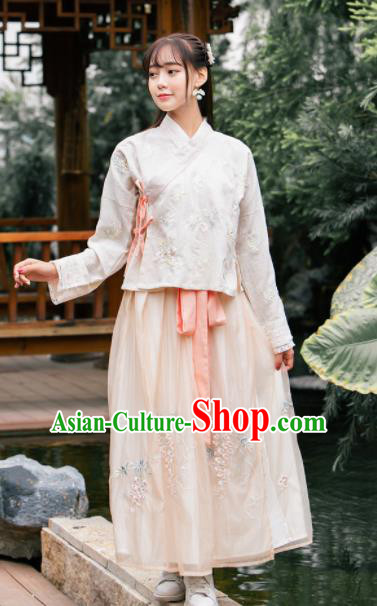 Chinese Ancient Ming Dynasty Nobility Lady Embroidered Costumes Hanfu Dress for Rich
