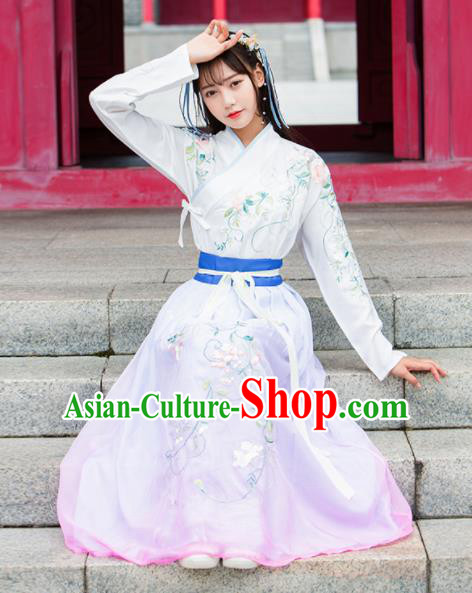 Ancient Chinese Ming Dynasty Princess Costumes Swordswoman Embroidered Hanfu Dress for Women