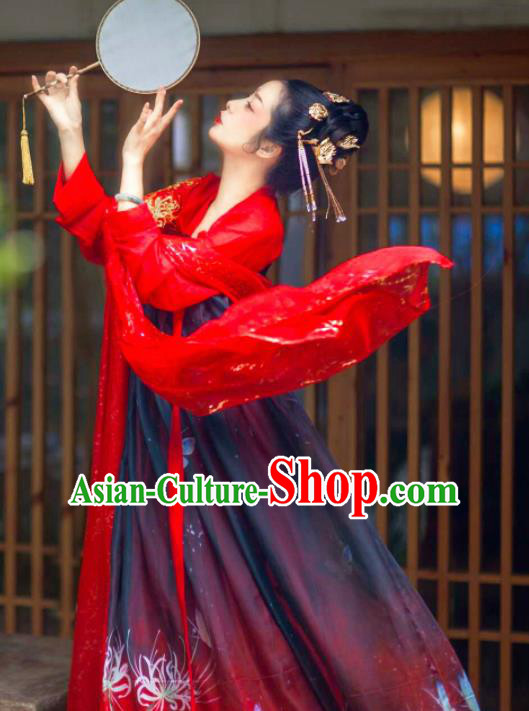 Chinese Traditional Tang Dynasty Maidenform Red Hanfu Dress Ancient Palace Princess Costumes for Women