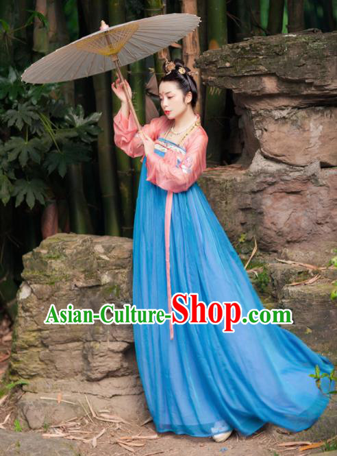 Chinese Traditional Tang Dynasty Imperial Consort Hanfu Dress Ancient Maidenform Costumes for Women