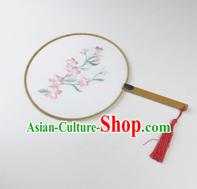 Chinese Ancient Princess Palace Fans Traditional Embroidered Pink Flowers Round Fans for Women