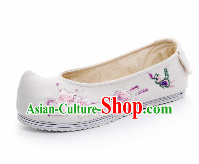 Chinese Ancient Traditional Embroidered Shoes Hanfu Embroidery Peach Blossom White Cloth Shoes for Women