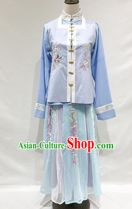 Ancient Chinese Ming Dynasty Nobility Lady Blue Hanfu Dress Historical Costumes for Women
