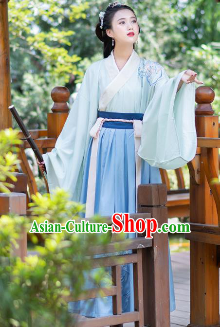 Ancient Chinese Jin Dynasty Historical Costumes Palace Princess Hanfu Dress for Women