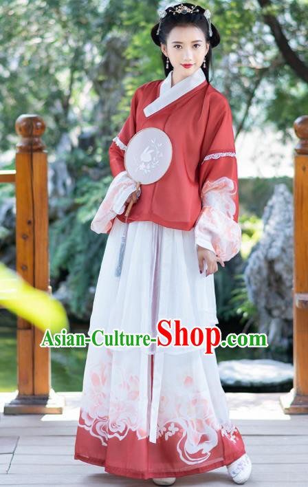 Ancient Chinese Ming Dynasty Historical Costumes Palace Princess Hanfu Dress for Women