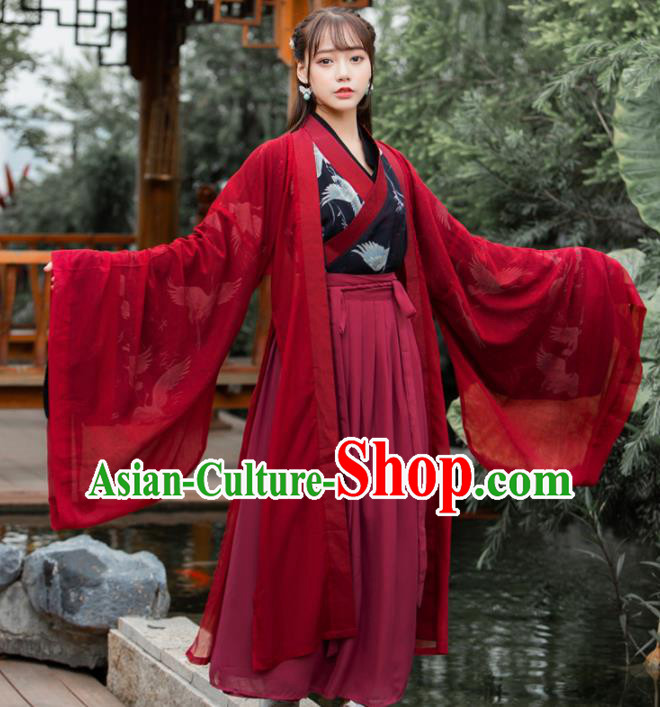 Ancient Chinese Jin Dynasty Historical Costumes Palace Lady Hanfu Dress for Women