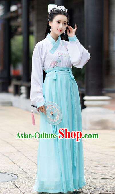 Ancient Chinese Ming Dynasty Princess Historical Costumes Nobility Lady Green Hanfu Dress for Women
