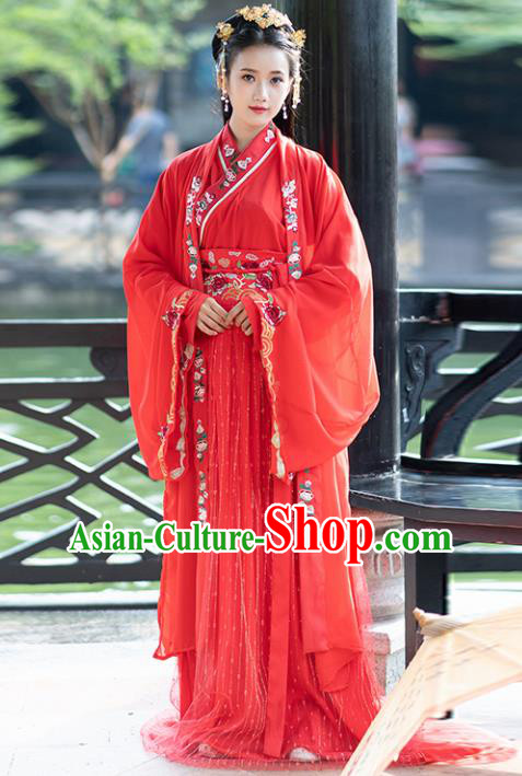Ancient Chinese Tang Dynasty Wedding Historical Costumes Nobility Lady Embroidered Red Hanfu Dress for Women