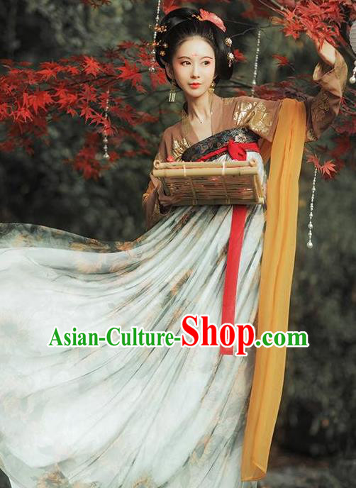 Chinese Traditional Tang Dynasty Imperial Concubine Historical Costumes Ancient Peri Hanfu Dress for Women